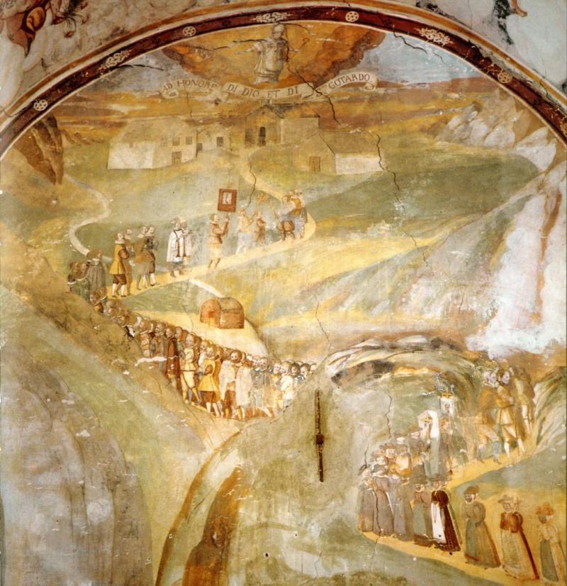 Raffigurazione nell'Oratorio di Altillone del pellegrinaggio attraverso il Passo del Gries