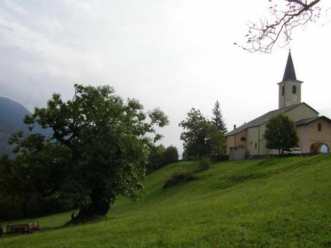 Ubicazione del castagno di Giaglione vicino alla Chiesa